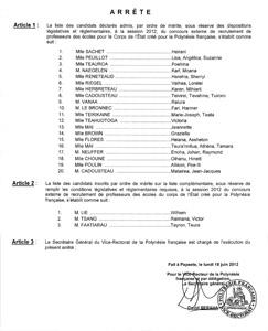 Arrêté d'admission du CRPE externe public 2012
