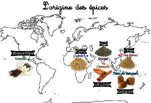 Carte de l'origine des épices